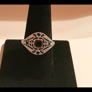 925 Silver Rings Blue Sapphire Size 10